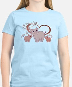 Hogs and Kisses Cute Piggies art T-Shirt