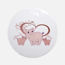 Hogs and Kisses Cute Piggies art Ornament (Round)