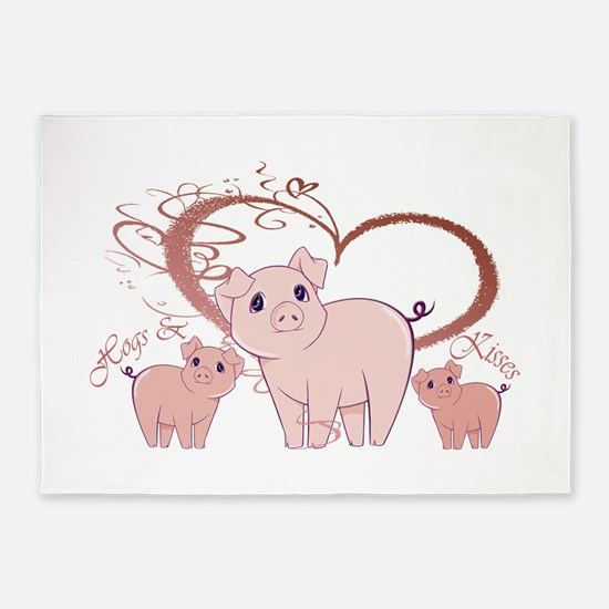 Hogs and Kisses Cute Piggies art 5'x7'Area Rug