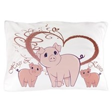 Hogs and Kisses Cute Piggies art Pillow Case