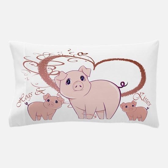 Hogs and Kisses Cute Piggies art Pillow Case