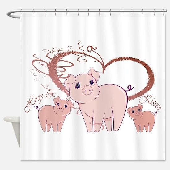 Hogs and Kisses Cute Piggies art Shower Curtain