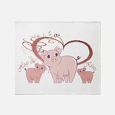 Hogs and Kisses Cute Piggies art Throw Blanket