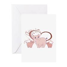Hogs and Kisses Cute Piggies art Greeting Cards (P
