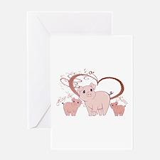 Hogs and Kisses Cute Piggies art Greeting Card