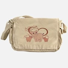 Hogs and Kisses Cute Piggies art Messenger Bag