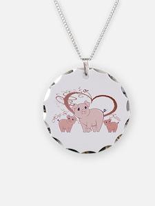Hogs and Kisses Cute Piggies art Necklace
