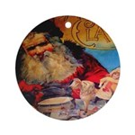 Season's Greetings Santa Ornament (Round)