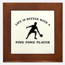 Ping Pong Player Designs Framed Tile