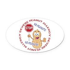 Severe Peanut Allergy Oval Car Magnet