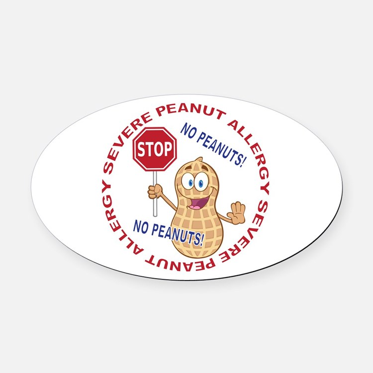 Severe Peanut Allergy Oval Car Magnet