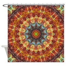 Fiery Needlework Mandala Shower Curtain