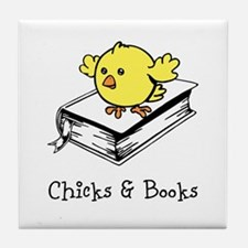 Chicks And Books Tile Coaster