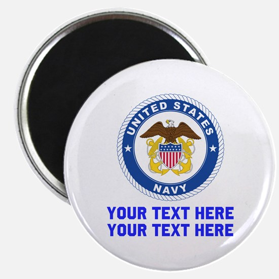 """US Navy Sign Personalized 2.25"""" Magnet (10 pack)"""
