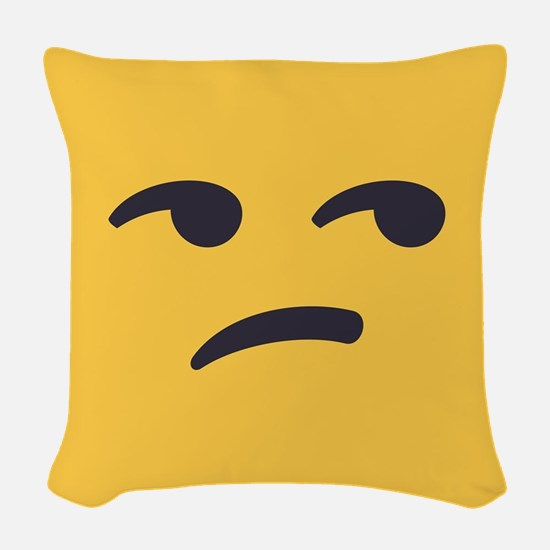 Unamused Emoji Face Woven Throw Pillow