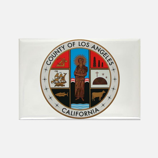 LA County Seal with Cross Rectangle Magnet