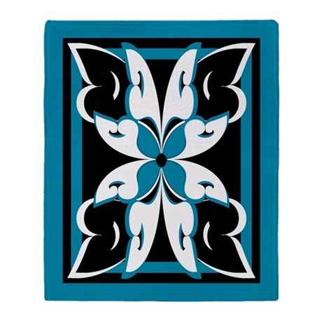 Abstract Butterfly Flower Throw Blanket
