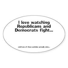 Republicans and Democrats Oval Decal