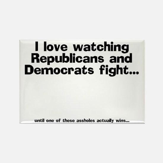 Republicans and Democrats Rectangle Magnet