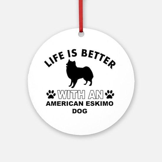 American Eskimo vector designs Ornament (Round)