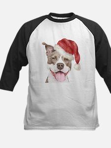 Christmas Pit Bull Terrier Kids Baseball Jersey