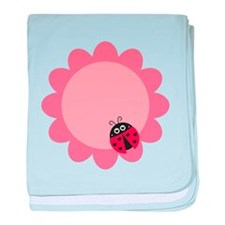 Cute ladybug with hearts on a pink flower baby bla
