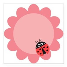 Cute ladybug with hearts on a pink flower Square C