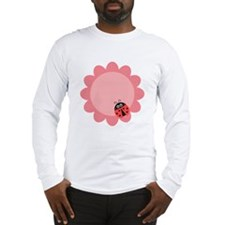 Cute ladybug with hearts on a pink flower Long Sle