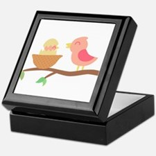 Cute Pink bird with its just hatched baby Keepsake