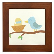 Cute Blue bird with its just hatched baby Framed T