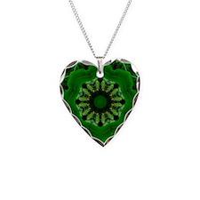 Green Dandelion Kaleidoscope Mandala Necklace