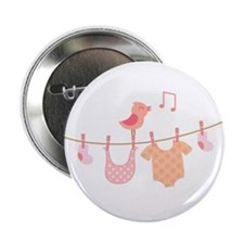 """Pink bird and baby clothes 2.25"""" Button"""