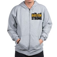 Boston Strong Gold Black Zip Hoodie