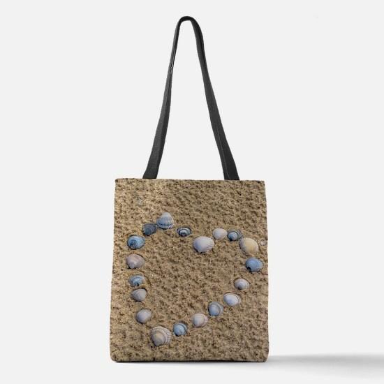Seashell heart Polyester Tote Bag