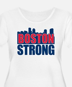 Boston Strong Red Blue Plus Size T-Shirt