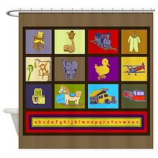 Baby Boy ABC Animal Toy Blocks Shower Curtain