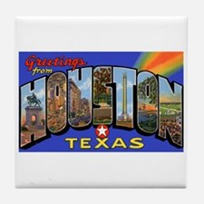 Houston Texas Greetings Tile Coaster