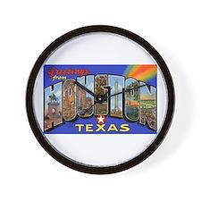 Houston Texas Greetings Wall Clock