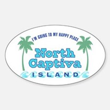 North Captiva Happy Place - Sticker (Oval)