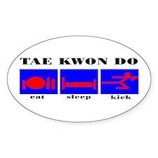 TKD Eat Sleep Kick Oval Decal