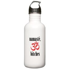 namaste, bitches (vertical) Sports Water Bottle