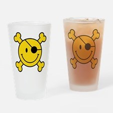 Pirate Smiley Drinking Glass