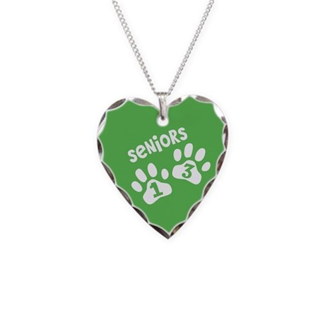 green white senior 2013 paws Necklace Heart Charm