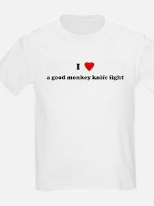 I Love a good monkey knife fi Kids T-Shirt