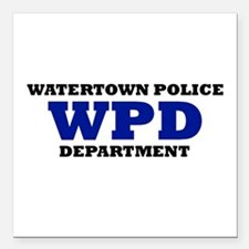 """WATERTOWN POLICE DEPARTMENT Square Car Magnet 3"""" x"""