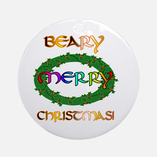 BEARY MERRY CHRISTMAS Ornament (Round)