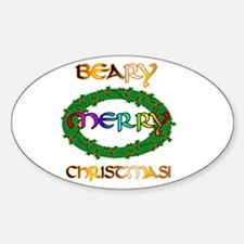 BEARY MERRY CHRISTMAS Oval Decal
