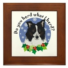 Border Collie Christmas Framed Tile