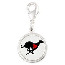 Greyhound Silver Round Charm Hearthound