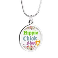 Hippie Chick at Heart Silver Round Necklace